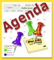 Diseño gráfico: fotocomposición de calendario, bloc de notas y 3 chinchetas (c) Torregamon.es