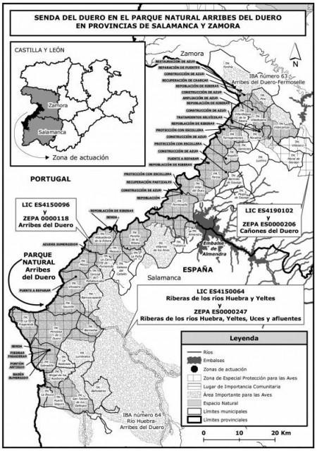 Mapa Arribes del Duero: Proyecto 'Senda de Duero' (Noviembre de 2012).