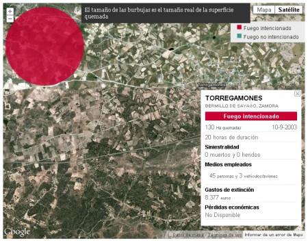 Google Maps muestra el área del Incendio intencionado en Torregamones. Fecha: 2003/09/10. (Fuente: España en Llamas, Fundación CIVIO)