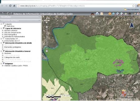 Mapa del municipio de Torregamones (obtenido del Sistema de Ordenación Urbanística de Castilla y León). Se indican en él la localización de los suelos urbanos, rústicos protegidos, rústicos protegidos especiales y los que tienen carácter industrial
