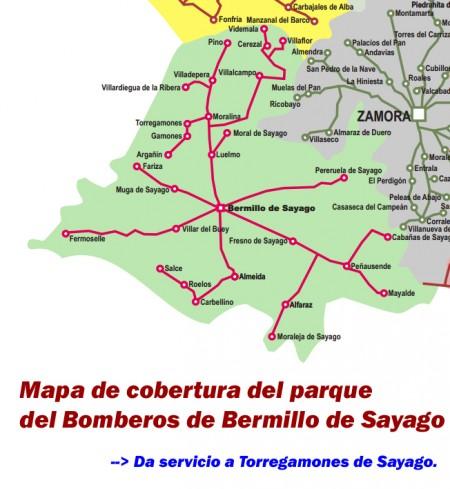2012/08/29. Mapa de cobertura del parque de bomberos de Bermillo (da servicio a Torregamones)