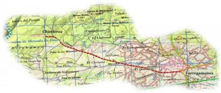 Mapa topográfico. Línea que marca el sendero desde Torregamones hasta los Chiviteros