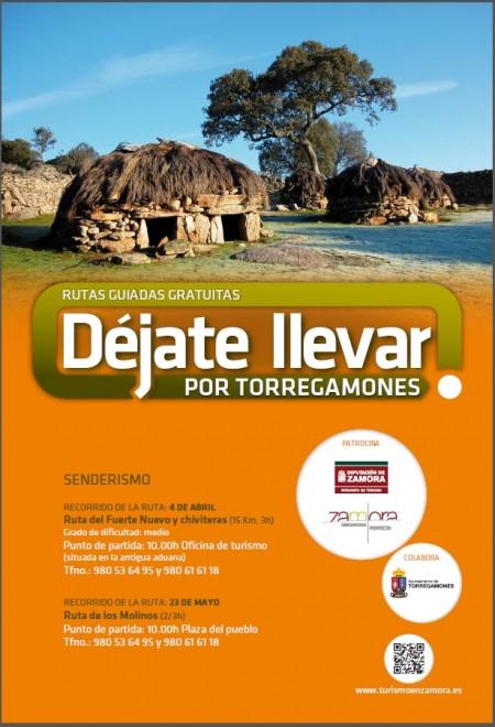 Cartel: Ruta guiada gratuita de senderismo por la ruta de los Molinos de Torregamones. 23/05/2015, 10:00 h. Organizado por el Patronato de Turismo de Zamora.