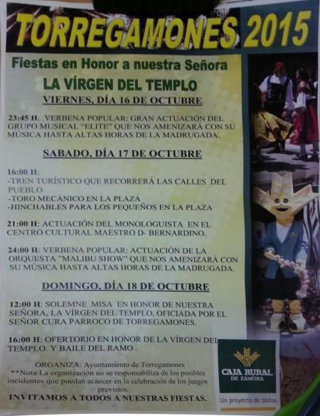 """Cartel de las Fiestas """"Virgen del Templo"""" de Torregamones 2015 (Programa)"""
