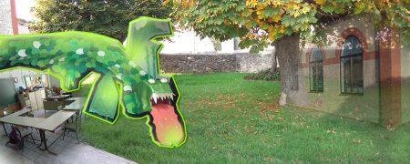 Luigi, el dragón de las Arribes en las Escuelas de Torregamones...