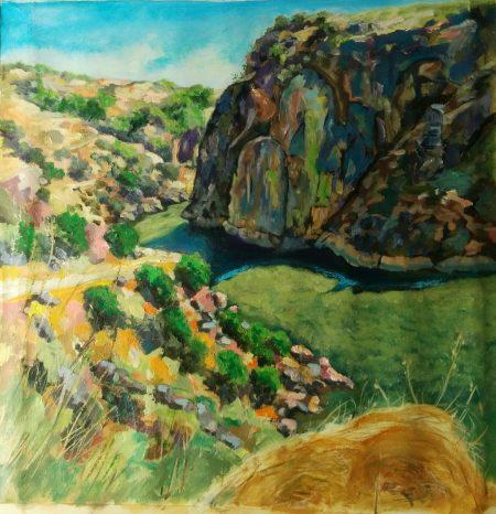 El dos de las Arribes del Duero (óleo sobre lienzo, 60 x 60 cm. - AntonioSastre.es)