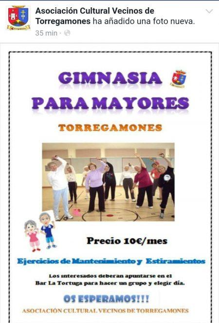 Gimnasia para mayores 2017. Asociación de Vecinos de Torregamones