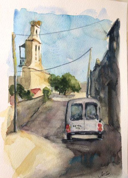 Iglesia de Torregamones  - Acuarela de AntonioSastre.es
