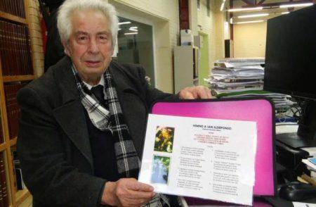 Gabriel Fernández Villar muestra el himno que ha creado a San Ildefonso (enero 2018)