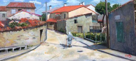 Cruce calles Corredera y Cerezal (60 x 28'5 cm) - Óleo de AntonioSastre.es