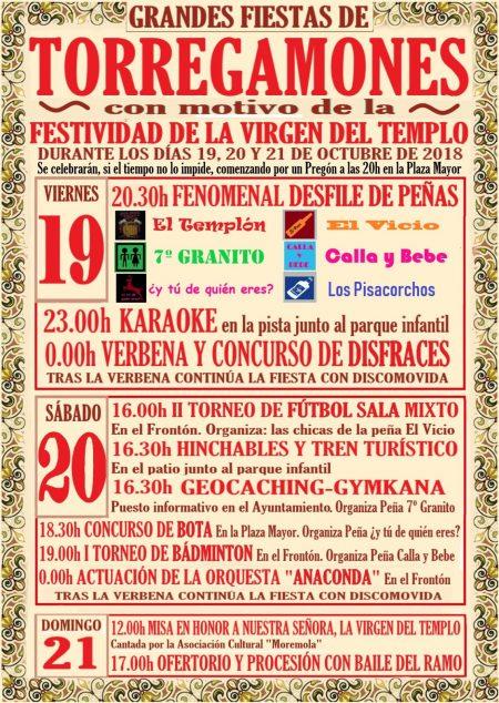 Fiestas Virgen del Templo, Torregamones (19, 20 y 21 de octubre de 2018)