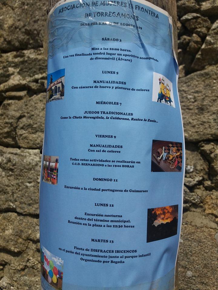 """Programa de actividades culturales organizado por la Asociación de Mujeres """"La Frontera"""" de Torregamones"""