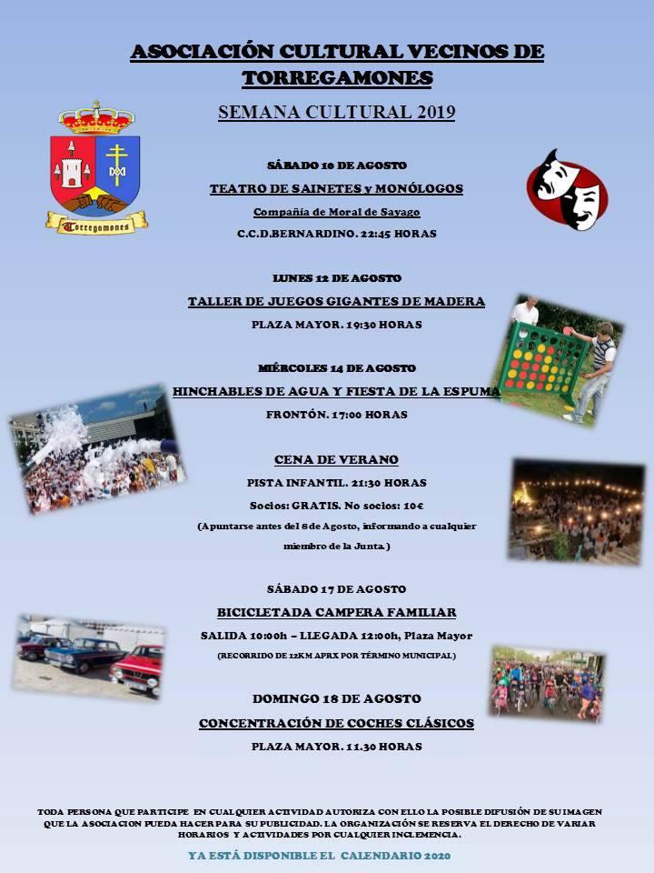Programa de la Semana cultural 2019 organizado por la Asociación de Vecinos de Torregamones