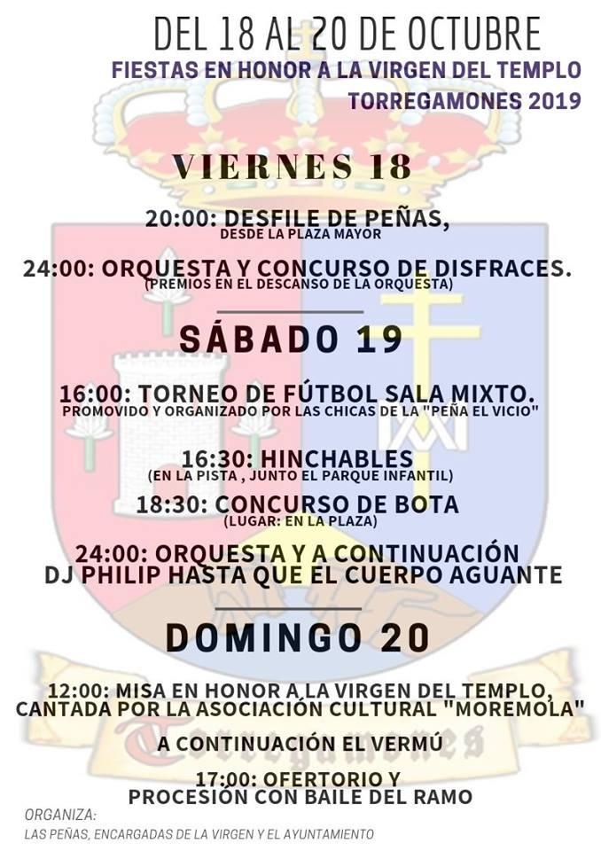 Cartel Fiestas Virgen del Templo - Torregamones (del 18 al 20 de octubre de 2019)