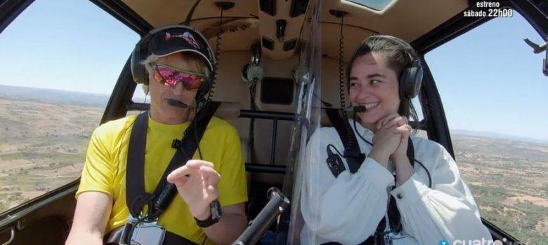 Volando voy: Jesús Calleja y Alejandra Utrera volando en el helicóptero (julio 2020)